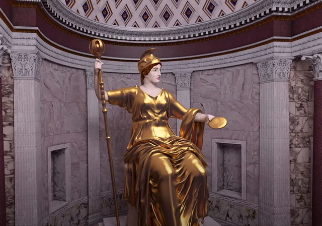 A digital rendering of a roman goddess statue.