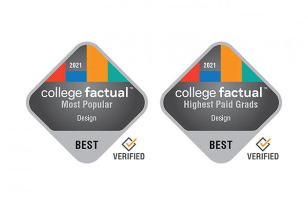 "Graphic: 2 College Factual badges. The text on the left badge reads; ""2021, College Factual, Most Popular, Design, Best, Verified"". The text on badge 2 reads; ""2021, College Factual, Highest Paid Grads, Design, Best, Verified""."