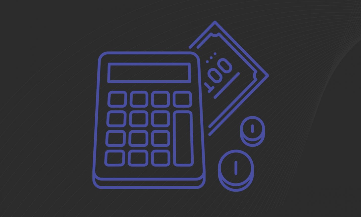 A graphic of a purple calculator on a black background