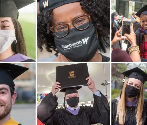 portraits of people graduating commencement