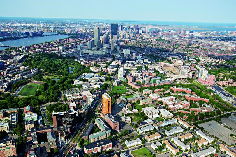 aerial view of campus and downtown Boston