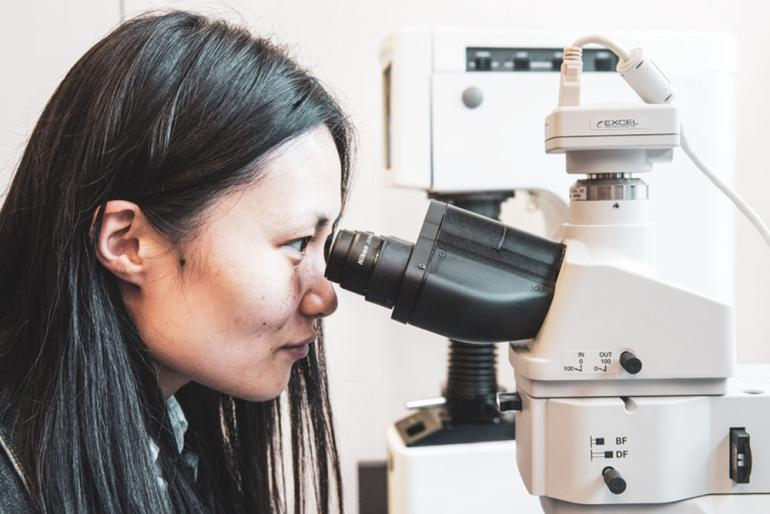 A woman looks into a microscope