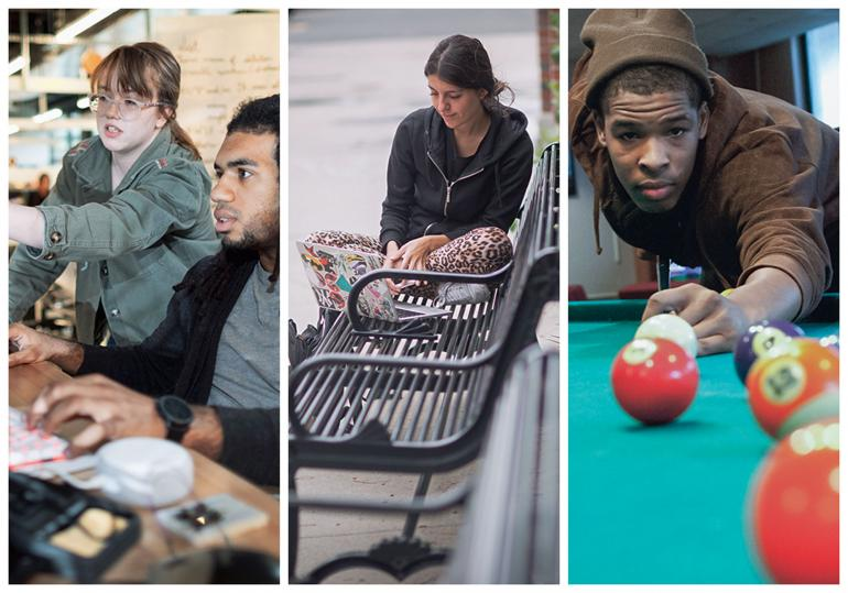 A collage of 3 images (from left to right): A male and female student looking at a computer; a female student sitting on a bench looking at her laptop; a male student playing pool.
